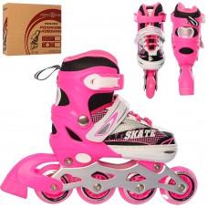 Ролики детские раздвижные Profi A 4123-S-P, размер 31-34, розовый
