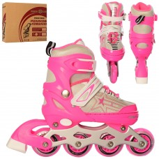 Ролики детские раздвижные Profi A 4138-S-P, размер 31-34, розовый
