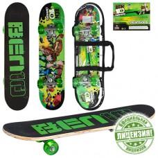 Скейтборд детский Profi BN 0013, черно-зеленый