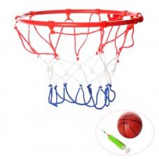 Баскетбольное кольцо M 3371 22см, металл, сетка, мяч16см, насос, игла, крепеж,
