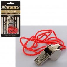 Свисток MS 0232 металлический, профессиональный, со шнуром