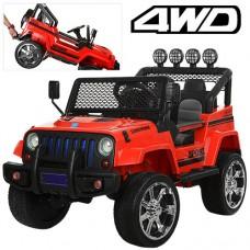 Детский электромобиль Джип Bambi M 3237 EBLR-3 Jeep, черно-красный