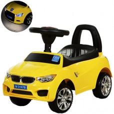 Детская машинка каталка толокар Bambi M 3147B-6 BMW, желтый