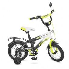 Велосипед детский двухколесный PROFI G1254 Inspirer, 12 дюймов, черно-бело-салатовый