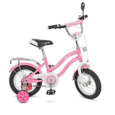 Велосипед детский двухколесный для девочек PROFI L1291 Star, 12 дюймов, розовый