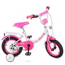 Велосипед детский двухколесный для девочек PROFI Y1214 Princess, 12 дюймов, малиново-белый