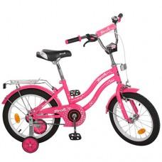 Велосипед детский двухколесный для девочек PROFI L1492 Star, 14 дюймов, малиновый
