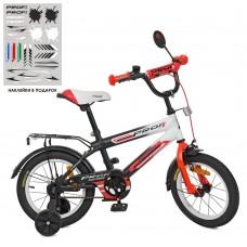 Велосипед детский двухколесный PROFI SY1455 Inspirer, 14 дюймов, черно-бело-красный