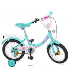 Велосипед детский двухколесный для девочек PROFI Y1412 Princess, 14 дюймов, розово-голубой