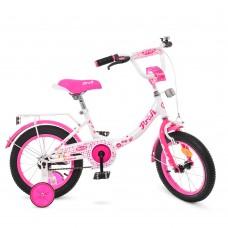 Велосипед детский двухколесный для девочек PROFI Y1414 Princess,14 дюймов, малиново-белый