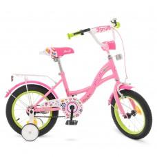 Велосипед детский двухколесный для девочек PROFI Y1421-1 Bloom, 14 дюймов, розовый