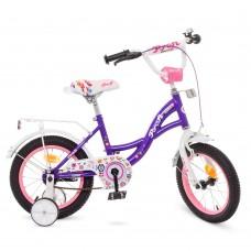 Велосипед детский двухколесный для девочек PROFI Y1422-1 Bloom, 14 дюймов, фиолетовый
