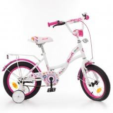 Велосипед детский двухколесный для девочек PROFI Y1425 Bloom, 14 дюймов, бело-малиновый