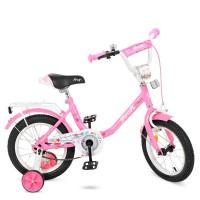 Велосипед детский двухколесный для девочек PROFI Y1481 Flower, 14 дюймов, розовый