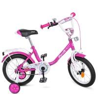 Велосипед детский двухколесный для девочек PROFI Y1482 Flower, 14 дюймов, малиновый
