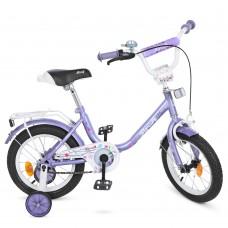 Велосипед детский двухколесный для девочек PROFI Y1483 Flower, 14 дюймов, фиолетовый