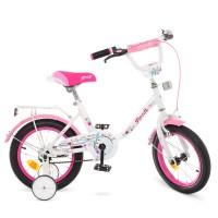 Велосипед детский двухколесный для девочек PROFI Y1485 Flower, 14 дюймов, розово-белый
