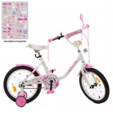 Велосипед детский двухколесный PROFI Y1485 Flower, 14 дюймов, розово-белый