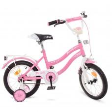 Велосипед детский двухколесный для девочек PROFI Y1491 Star, 14 дюймов, розовый
