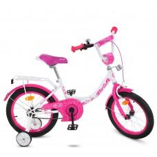 Велосипед детский двухколесный для девочек PROFI Y1614 Princess, 16 дюймов, малиново-белый