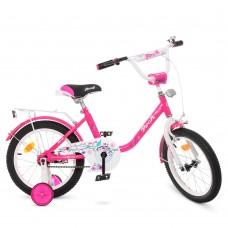 Велосипед детский двухколесный для девочек PROFI Y1682 Flower, 16 дюймов, малиновый