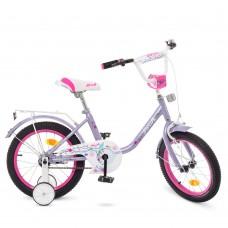 Велосипед детский двухколесный для девочек PROFI Y1683 Flower, 16 дюймов, сиреневый