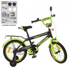 Велосипед детский двухколесный PROFI SY1851 Inspirer, 18 дюймов, черно-салатовый