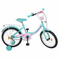 Велосипед детский двухколесный для девочек PROFI Y1812 Princess, 18 дюймов, мятный