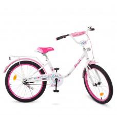 Велосипед детский двухколесный для девочек PROFI Y2085 Flower, 20 дюймов, белый