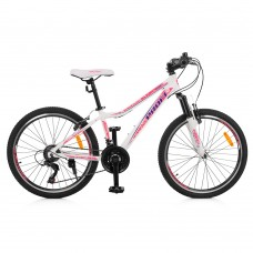 "Велосипед горный MTB Profi CARE 24 дюйма, рама 13,5"", белый (G24CARE A24.3)"