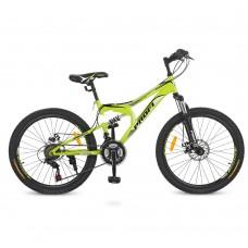 "Велосипед горный MTB Profi DAMPER 24 дюйма, рама 15"", салатовый (G24DAMPER S24.4)"