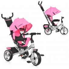 Велосипед трехколесный с ручкой детский Turbo Trike M 3113-10 EVA колеса, розовый