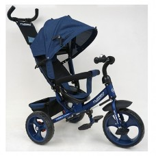 Велосипед трехколесный с ручкой детский Turbo Trike M 3113-11L, EVA колеса, темно-синий