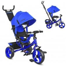 Велосипед трехколесный с ручкой детский Turbo Trike M 3113-14,  EVA колеса, синий