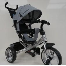 Велосипед трехколесный с ручкой детский Turbo Trike M 3113-19L, EVA колеса, лен, серый