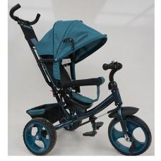 Велосипед трехколесный с ручкой детский Turbo Trike M 3113-21L, EVA колеса, лен, изумрудный