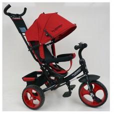 Велосипед трехколесный с ручкой детский Turbo Trike M 3113-3L, EVA колеса, лен, красный