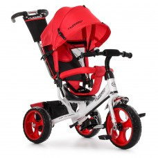 Велосипед трехколесный с ручкой детский Turbo Trike M 3113-3 EVA колеса, красный