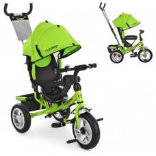 Велосипед трехколесный с ручкой детский Turbo Trike M 3113A-4 надувные колеса, салатовый