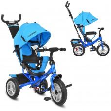 Велосипед трехколесный с ручкой детский Turbo Trike M 3113A-5 надувные колеса, голубой