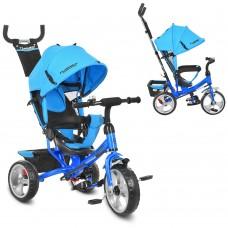 Велосипед трехколесный с ручкой детский Turbo Trike M 3113-5 EVA колеса, голубой