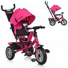 Велосипед трехколесный с ручкой детский Turbo Trike M 3113A-6 надувные колеса, розовый