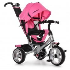 Велосипед трехколесный с ручкой детский Turbo Trike M 3113-6, EVA колеса, розовый