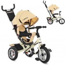 Велосипед трехколесный с ручкой детский Turbo Trike M 3113A-7 надувные колеса, бежевый