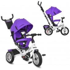 Велосипед трехколесный с ручкой детский Turbo Trike M 3113A-8 надувные колеса, фиолетовый