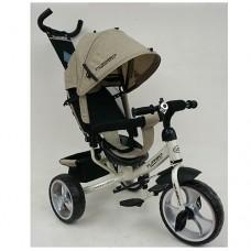 Велосипед трехколесный с ручкой детский Turbo Trike M 3113-9L, EVA колеса, лен, бежевый