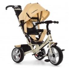 Велосипед трехколесный с ручкой детский Turbo Trike M 3113-9 EVA колеса, бежевый