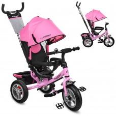 Велосипед трехколесный с ручкой детский Turbo Trike M 3113A-10 надувные колеса, розовый