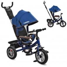 Велосипед трехколесный с ручкой детский Turbo Trike M 3113A-11 надувные колеса, синий