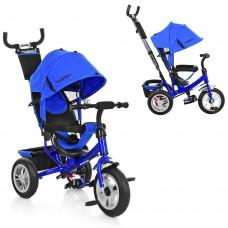 Велосипед трехколесный с ручкой детский Turbo Trike M 3113A-14 надувные колеса, индиго синий